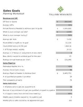 Sales Goals Worksheet